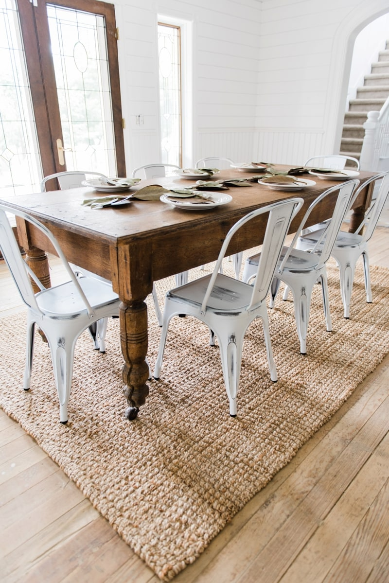 New farmhouse dining chairs for Farmhouse dining room table set