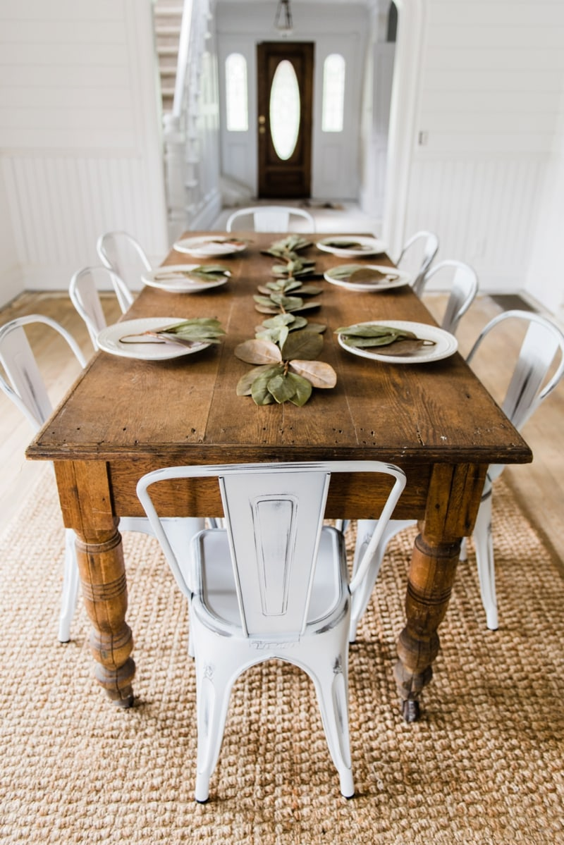 White farmhouse kitchen chairs for White dining room decor