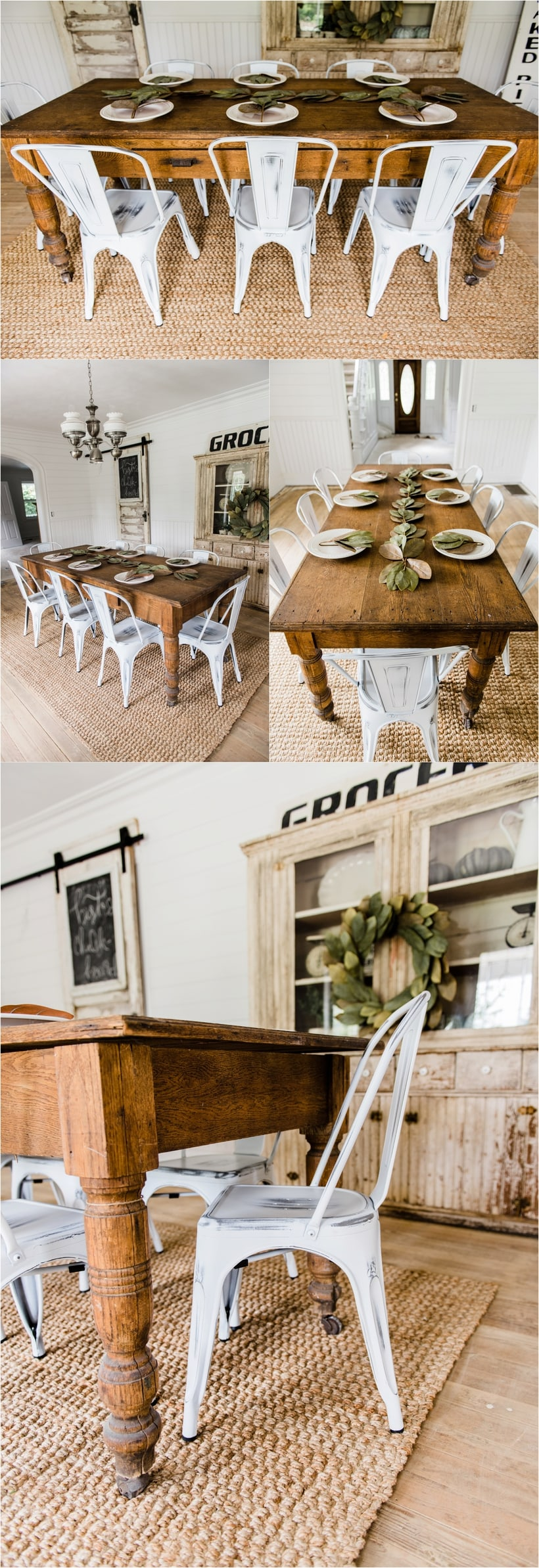 New farmhouse dining chairs for White dining room decor