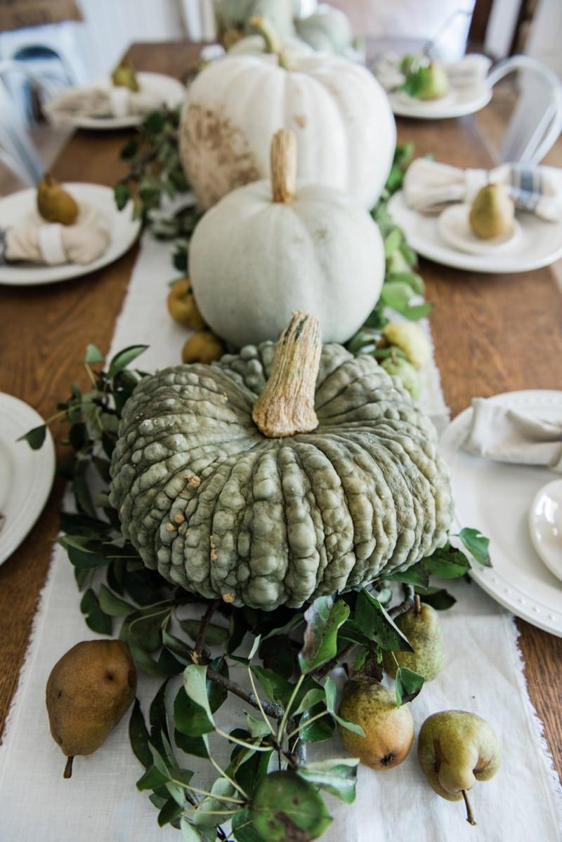 Happy fall rustic pumpkin pear farmhouse table