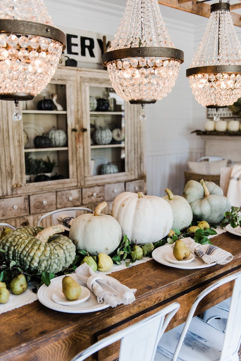 Happy Fall - Rustic Pumpkin & Pear Farmhouse Table