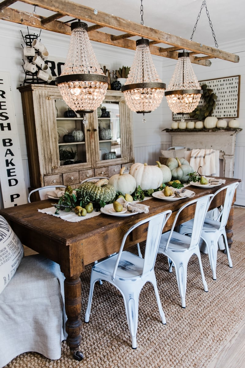 Happy fall rustic pumpkin pear farmhouse table for Rustic dining room decorating ideas