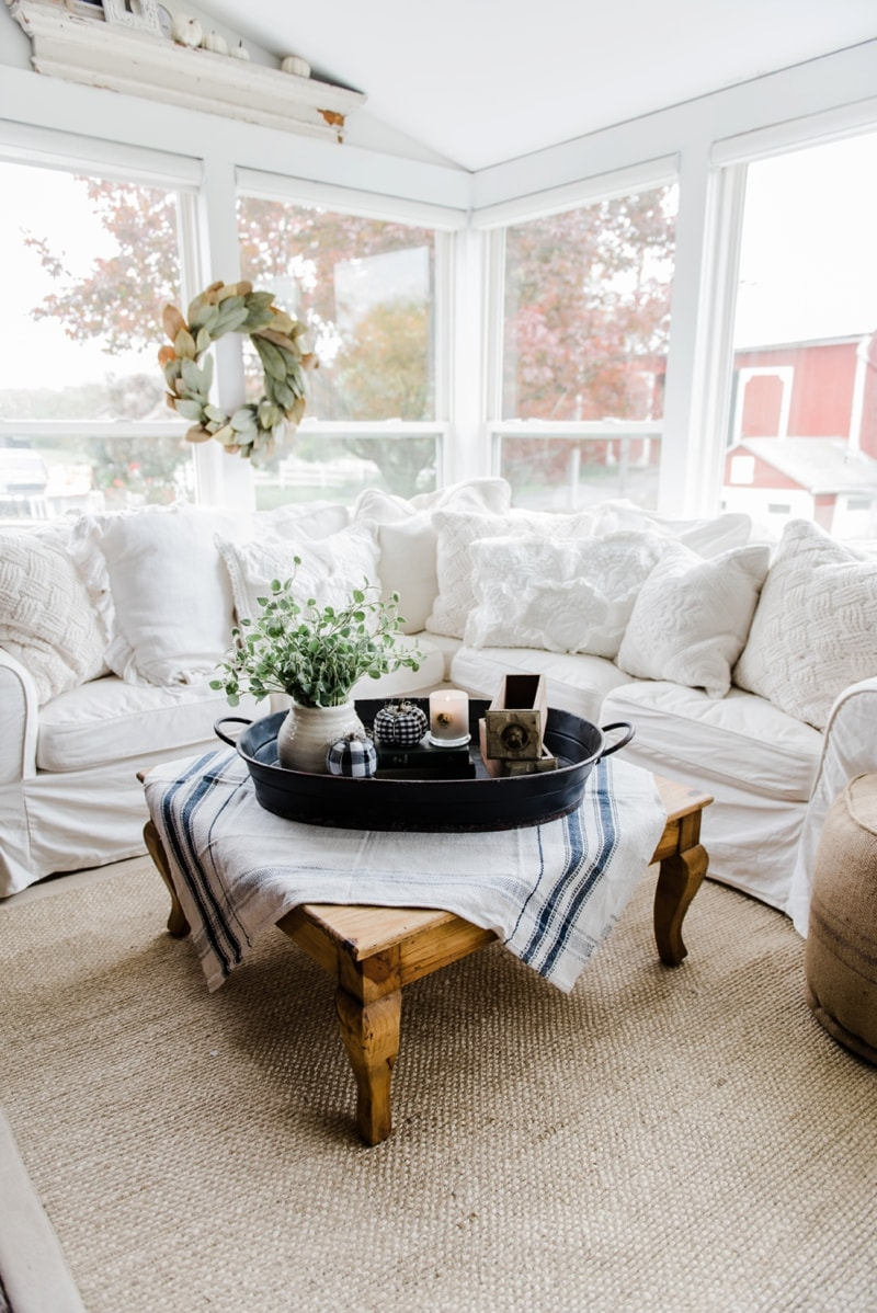 A Farmhouse Style Coffee Table In The Sunroom Liz Marie Blog