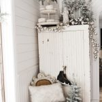 Farmhouse Christmas Cabinet & Rustic Santa