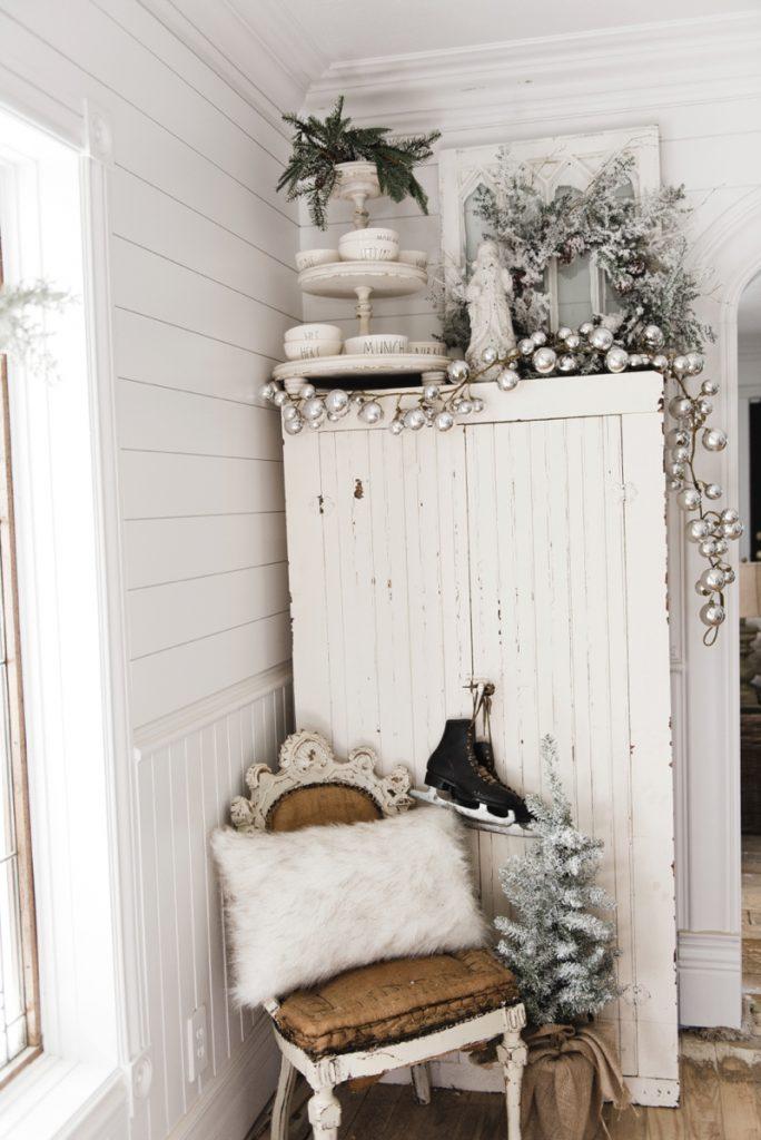 Farmhouse Christmas Cabinet & Rustic Santa