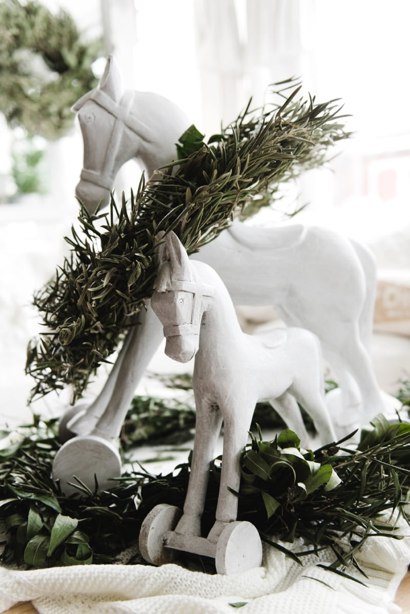 Cottage style vintage inspired Christmas rocking horses - Great farmhouse style & cottage style Christmas decor
