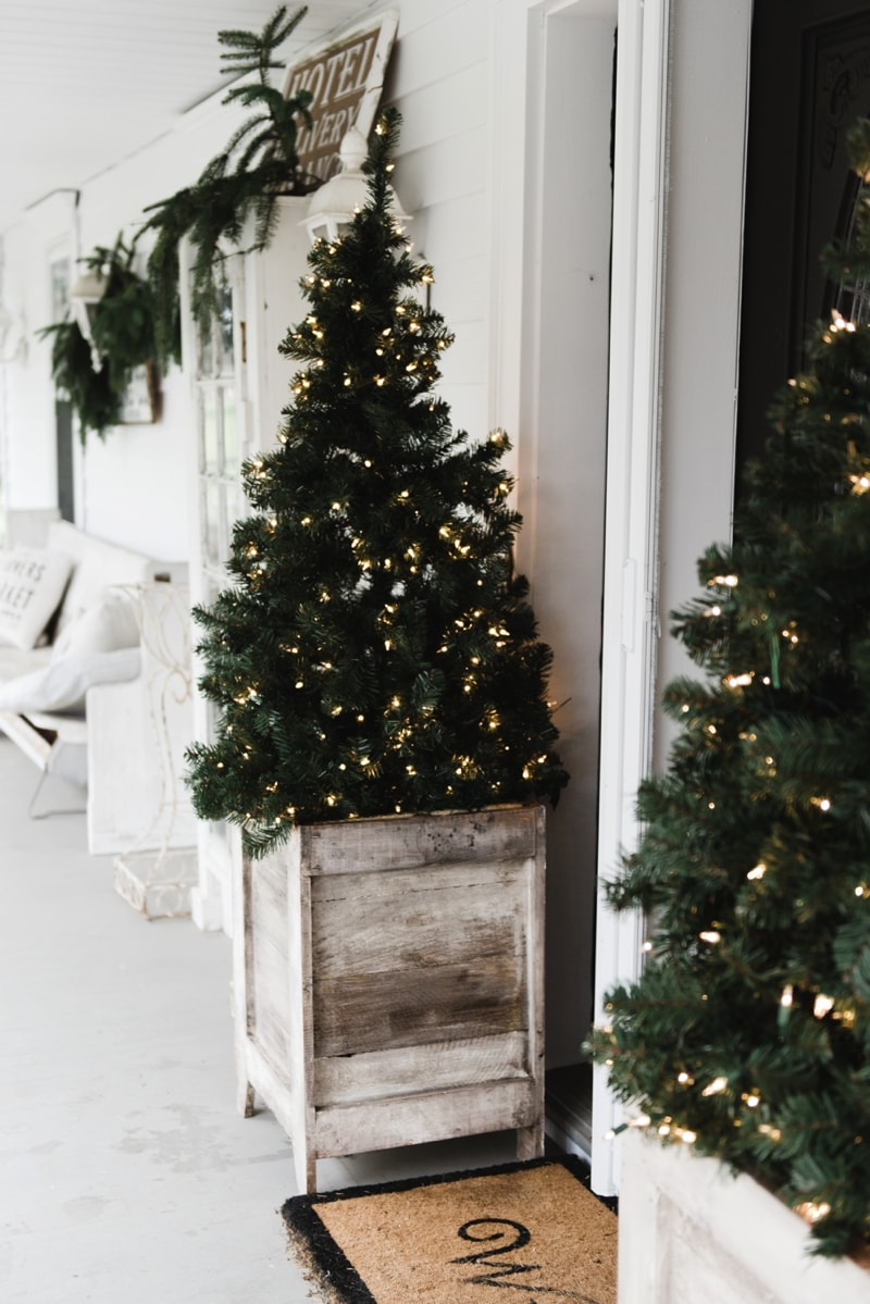 Diy farmhouse porch planter boxes Christmas decorations for house outside ideas