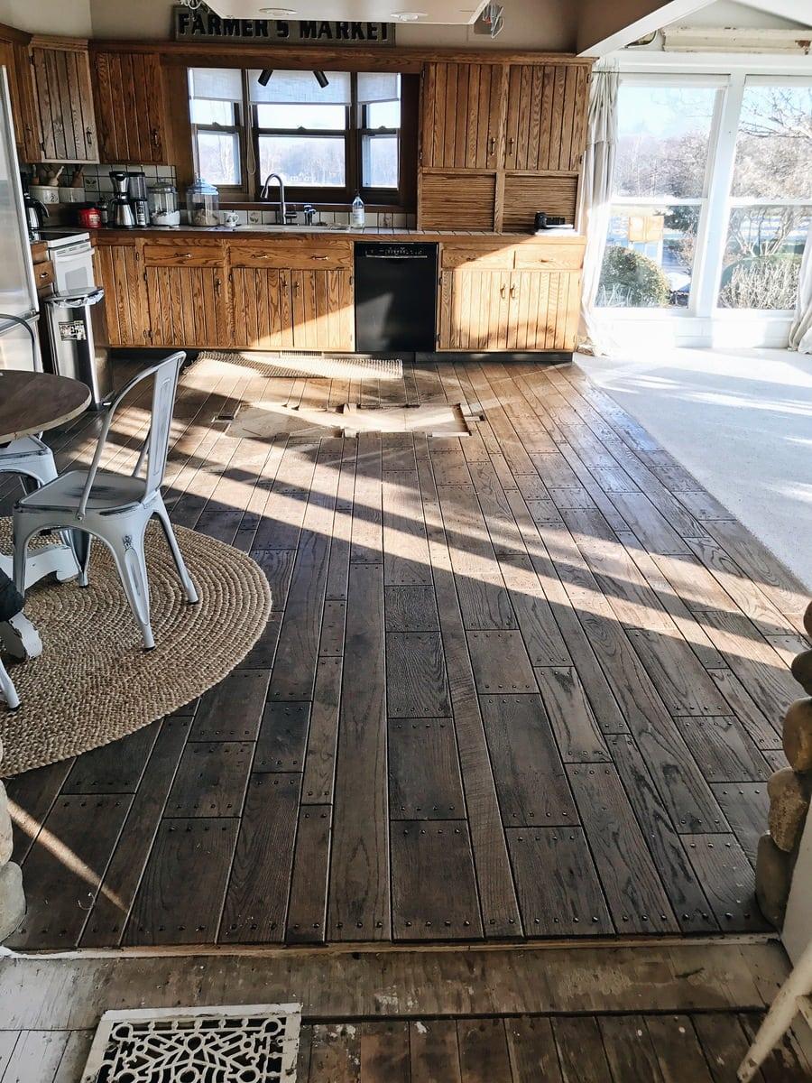 Wood Kitchen Flooring Sunroom Kitchen Flooring Demo Before