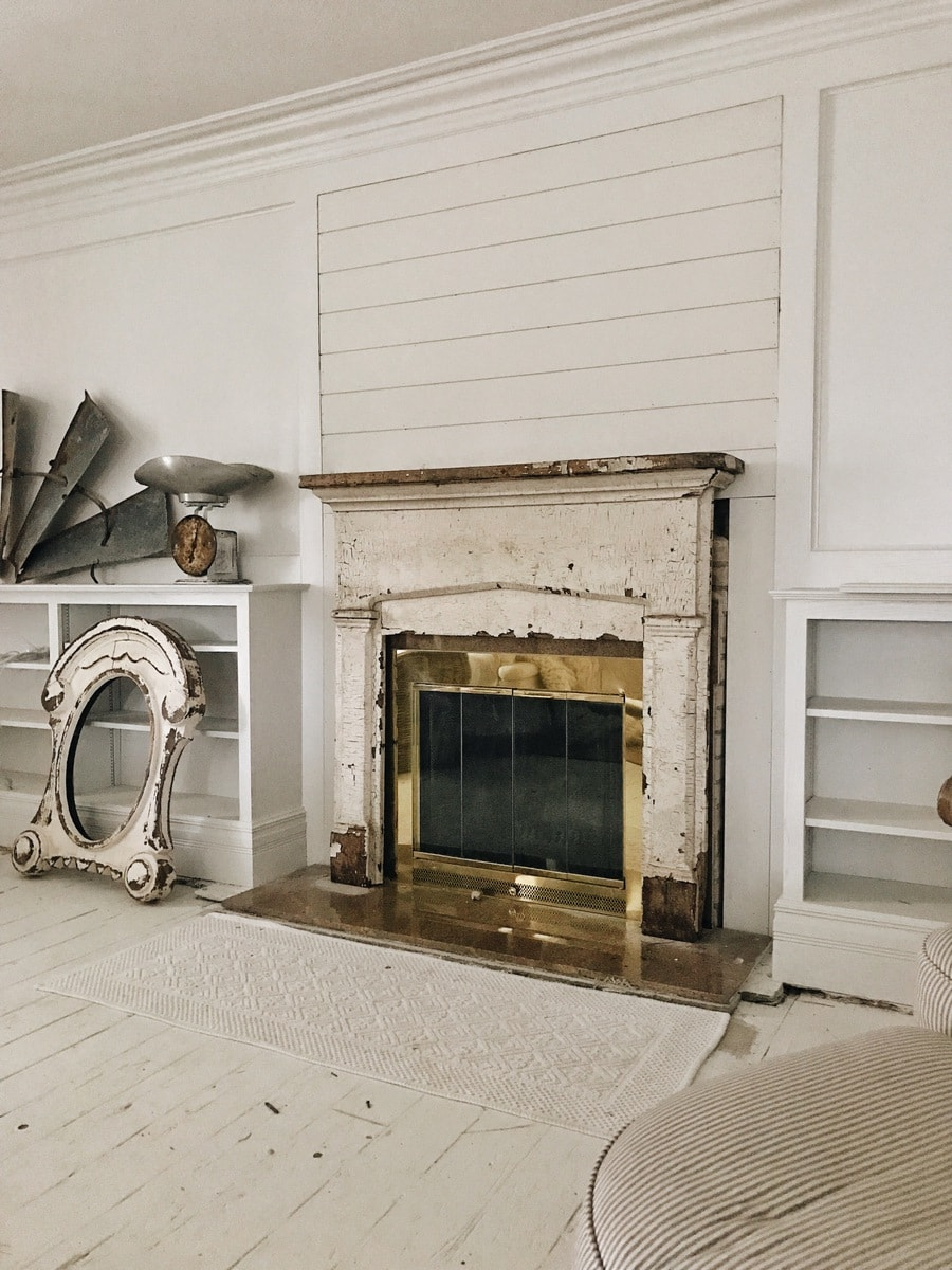 Front Living Room Makeover – Shiplap On The Fireplace