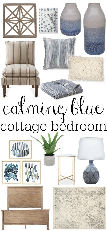 A lovely calming blue cottage bedroom design by Liz Marie Blog