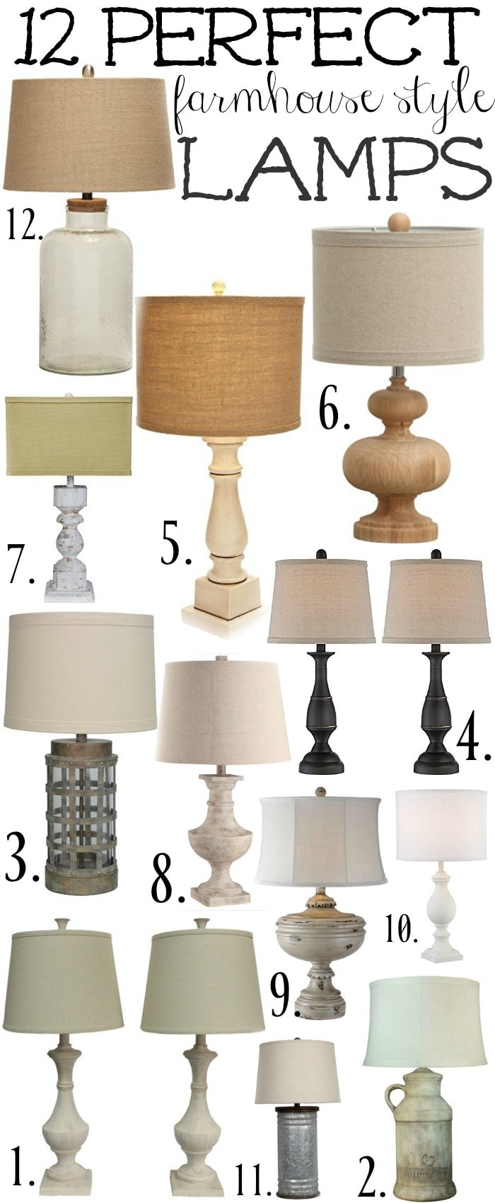 12 Perfect Farmhouse Style Lamps