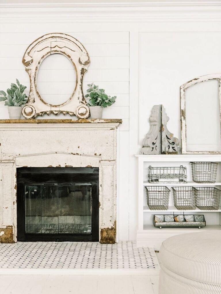 Front Living Room Fireplace Progress- Tile