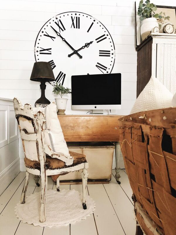 Farmhouse Living Room Office Corner