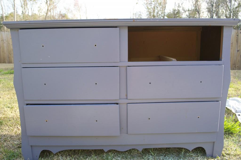 , Beachy Dresser with Burlap Shelves…