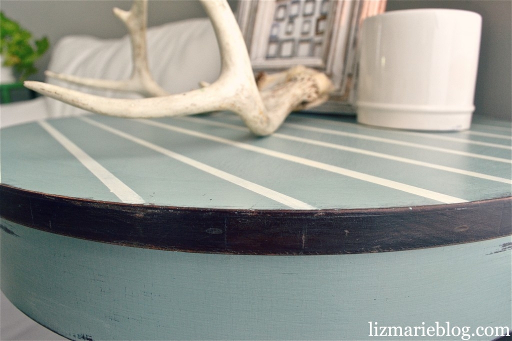 , Pinstriped End Table