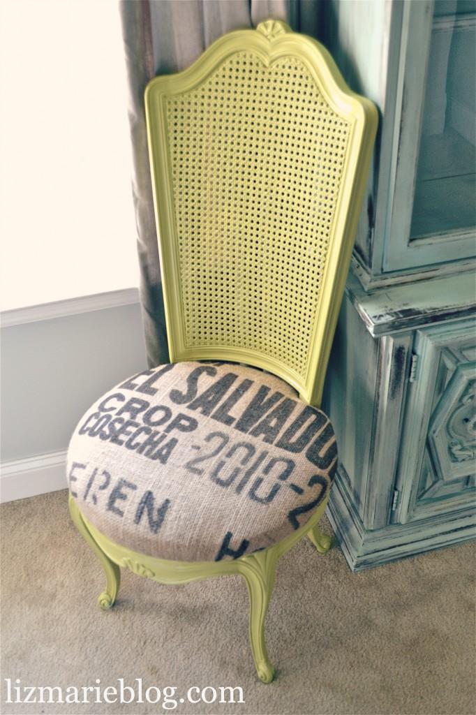 , Avocado and Burlap Chair