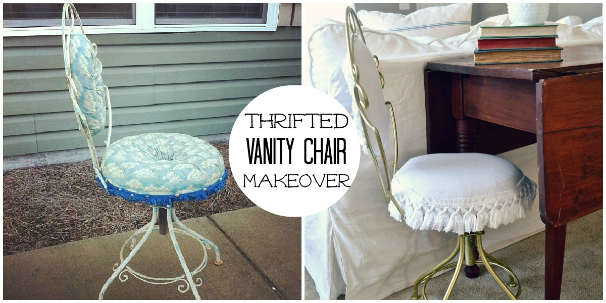 Thrifted Vanity Chair Makeover Liz Marie Blog