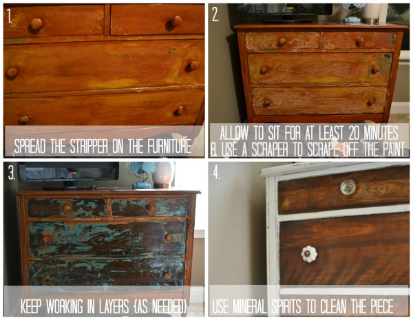 Step By Step on How To Strip Painted Furniture with photo examples