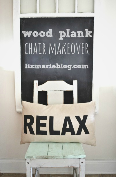Wood plank chair makeover- lizmarieblog.com