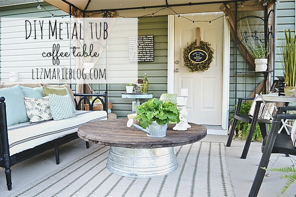 DIY Wire Spool and Metal Tub Coffee Table, DIY Wire Spool & Metal Tub Coffee Table