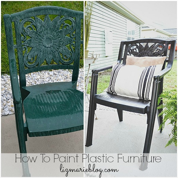 How to paint plastic furniture- lizmarieblog.com