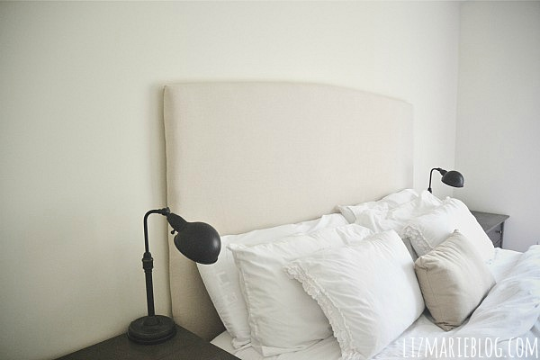 DIY Simple Upholstered headboard with video tutorial - lizmarieblog.com