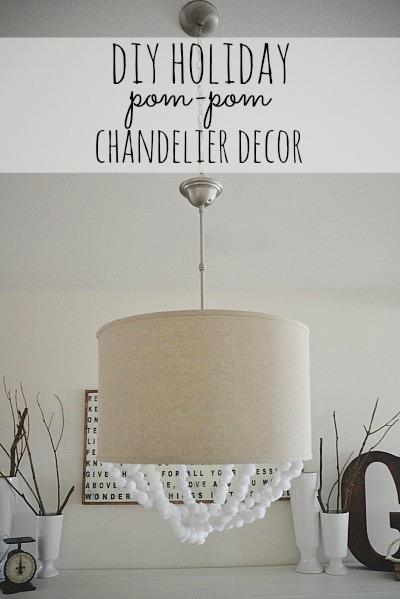 DIY Holiday Pom-pom chandelier decor, DIY Holiday Pom-Pom Chandelier Decor