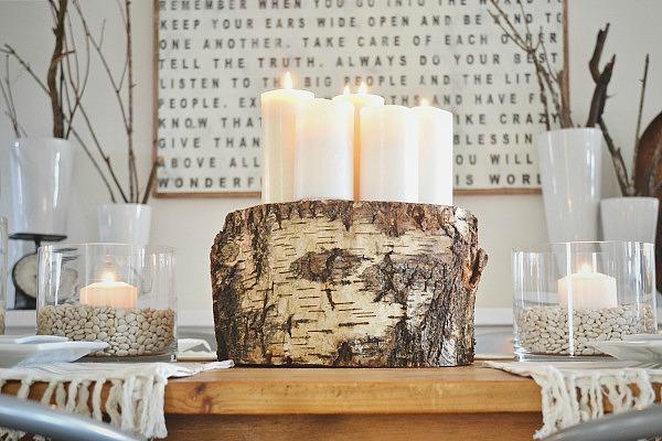 DIY tree stump centerpiece - lizmarieblog.com