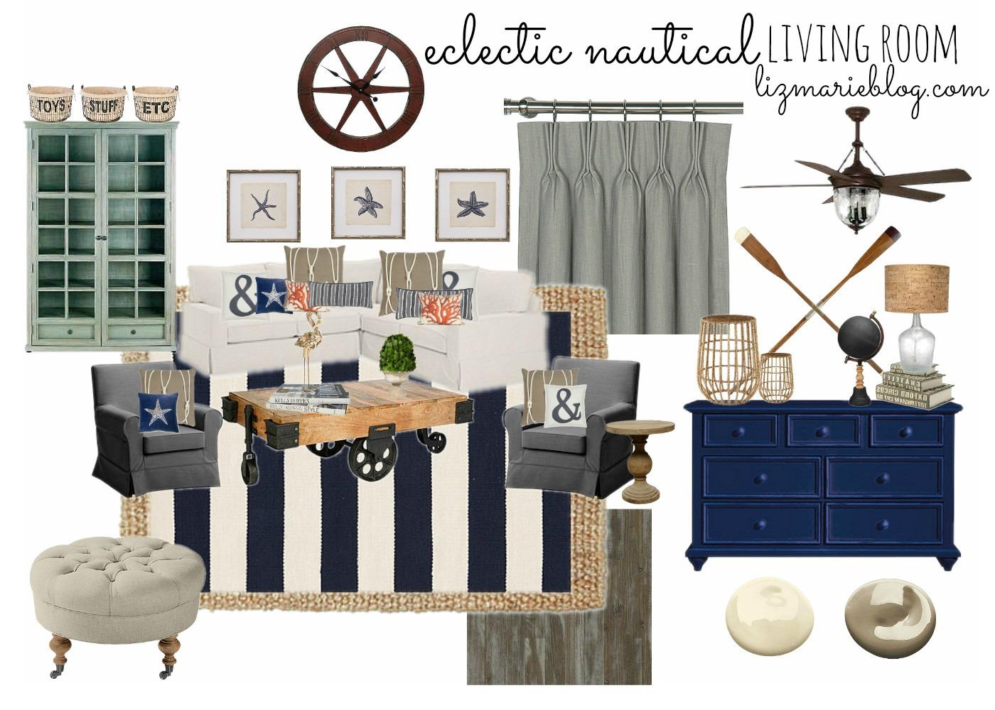 Eclectic Nautical Living Room Liz Marie Blog