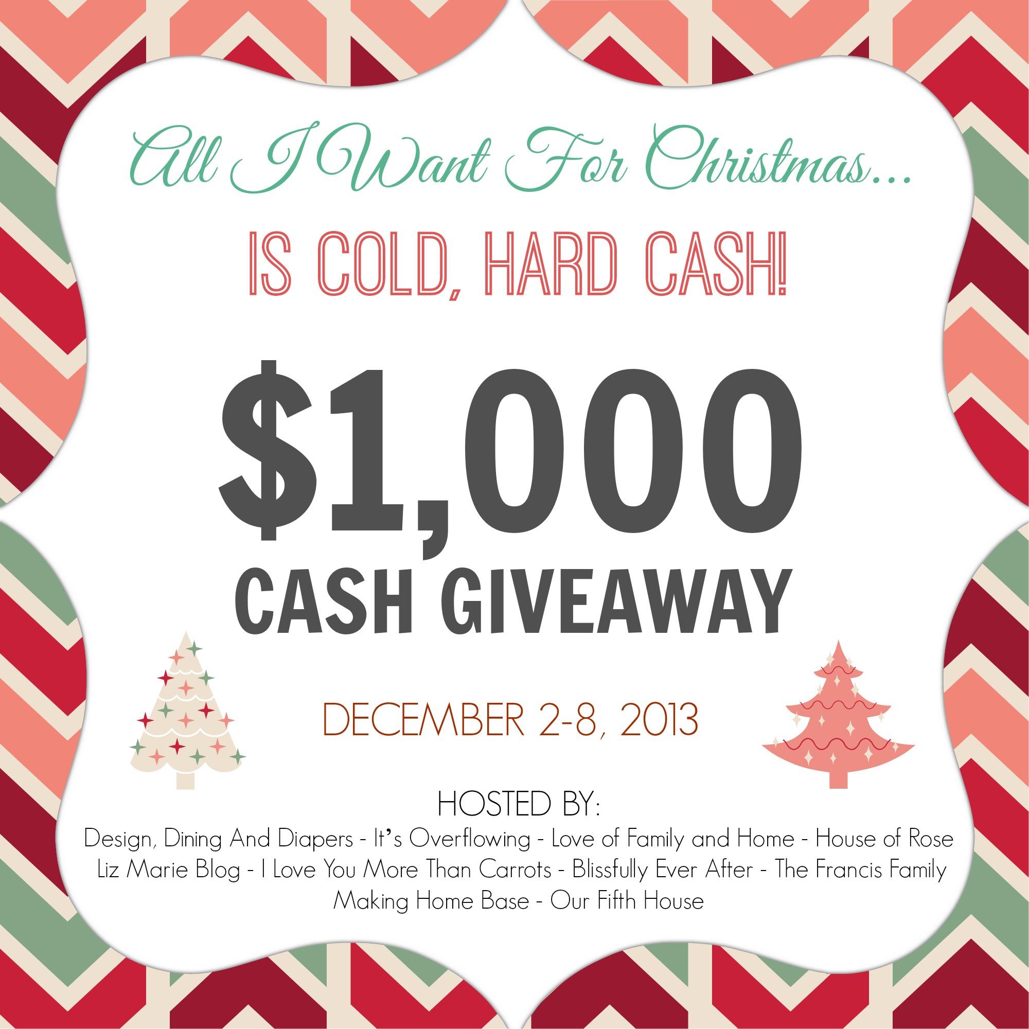 $1,000 Cold Hard Cash Giveaway