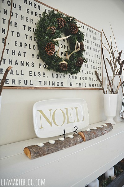 DIY log candle holder - lizmarieblog.com