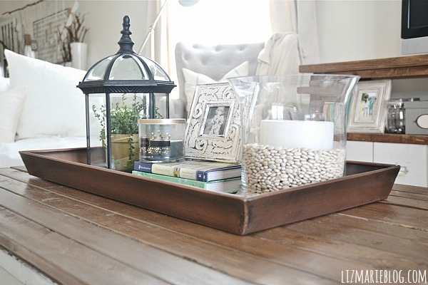 DIY boot tray to coffee table organizer - lizmarieblog.com