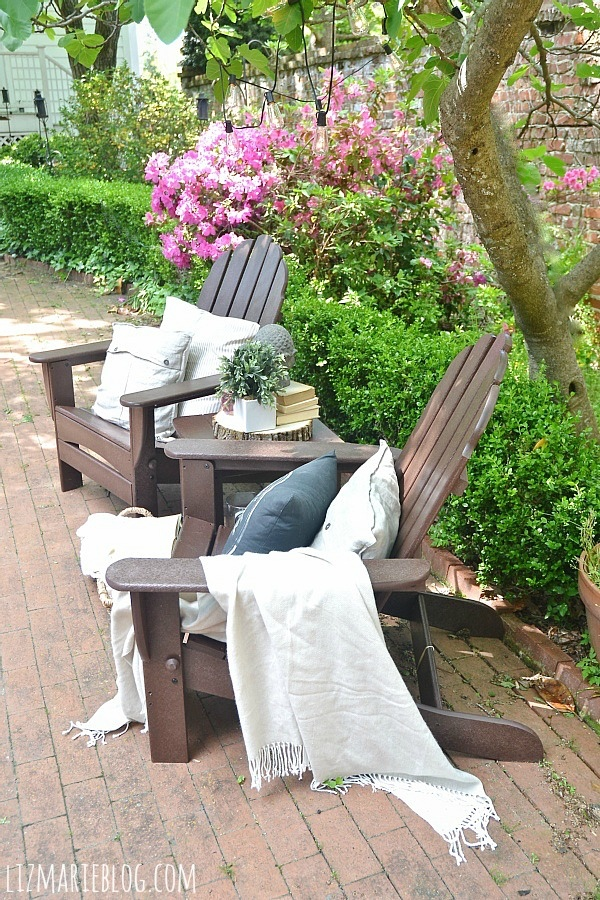 Front Porch Decorating Ideas With The Perfect Adirondack Chairs Our House Now A Home: Recycled Outdoor Furniture & Our New Back Patio