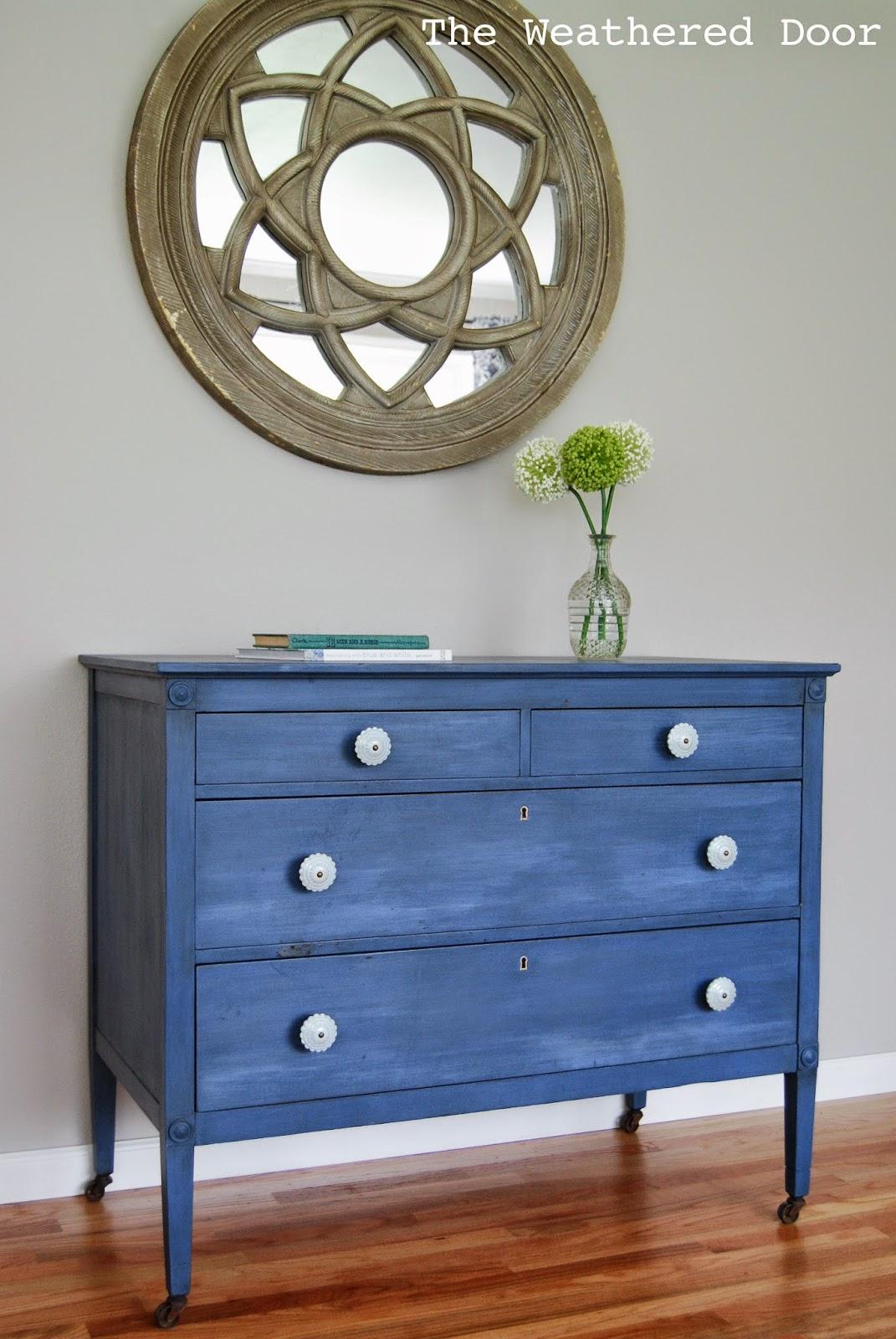 Federal Blue Dresser with Light Blue Knobs-8
