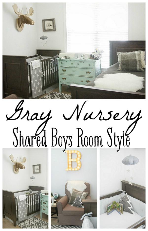 Gray Nursery - Shared boys room style