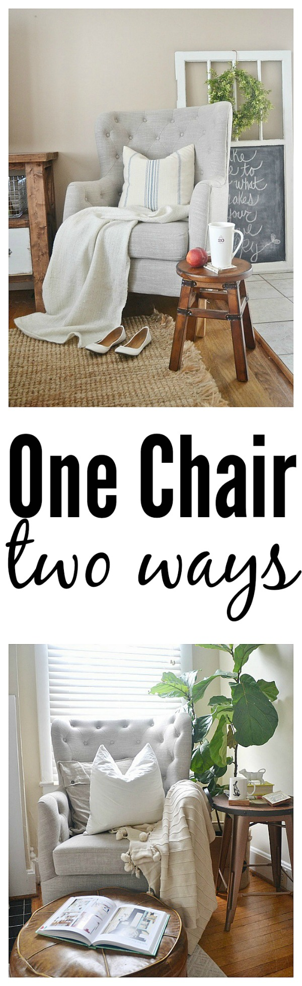One chair two ways - TJ Maxx Tufted chair - lizmarieblog