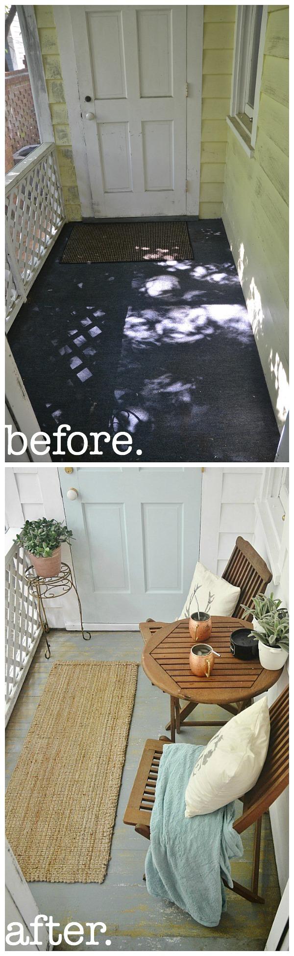 sunroom makeover - painted floors