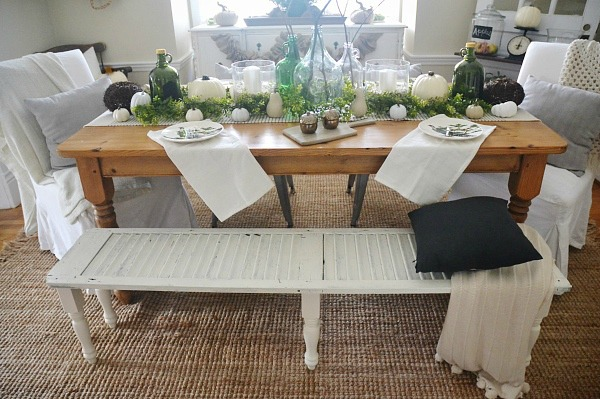 A neutral & green fall dining room - lizmarieblog.com