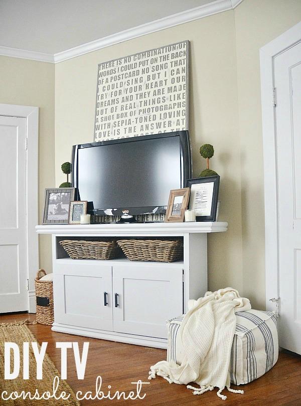 DIY TV console cabinet - So easy to make! lizmarieblog.com
