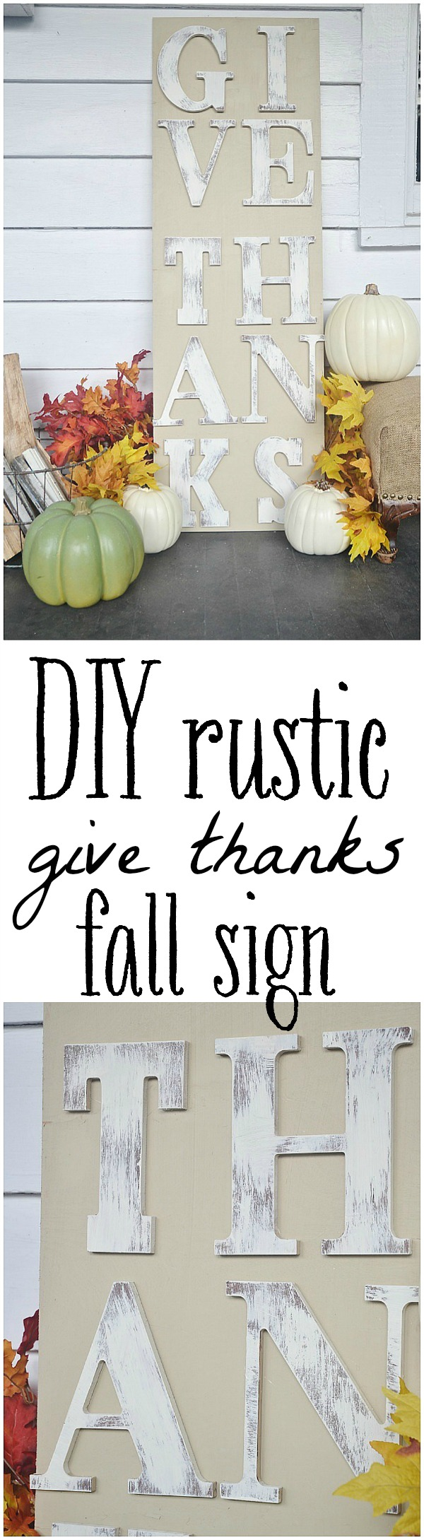 DIY rustic fall sign - so easy to make ANYONE can do it!!! Could be done with any sayings with any layout, & any color option!