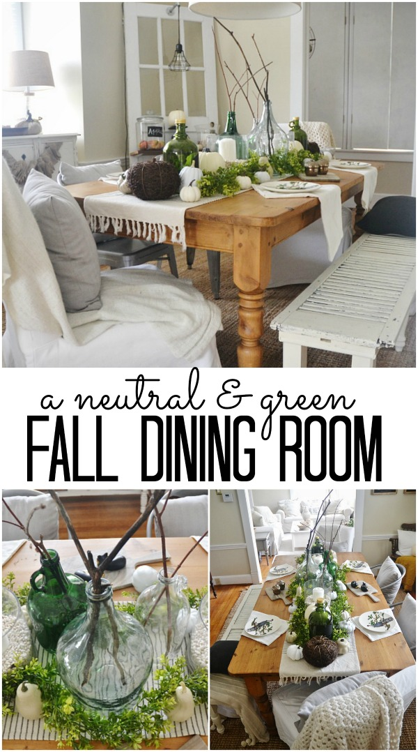 A neutral and green fall dining room - lizmarieblog.com