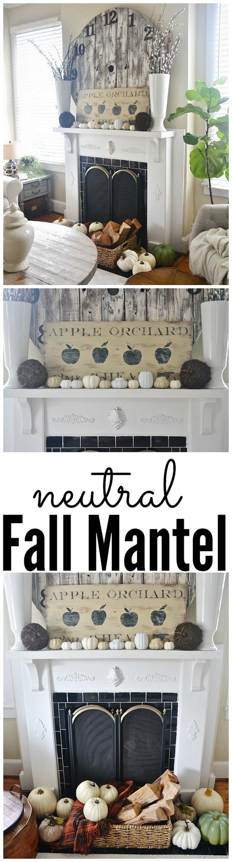 DIY Neutral fall mantel - lizmarieblog.com