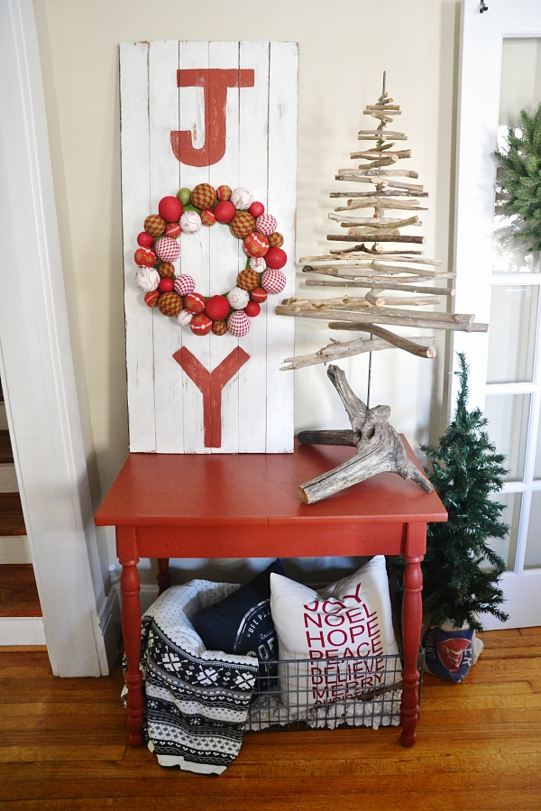 Red christmas table - Bring in pops of red to your home for the Holidays by painting a piece of furniture. Antique red by Behr- the perfect rustic red.