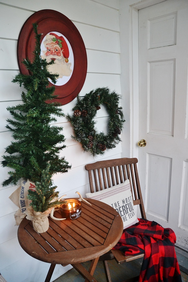 Rustic holiday sunroom- Red/Green/Plaid - With DIY Christmas art/ DIY santa art - super easy to make & can be customizable!