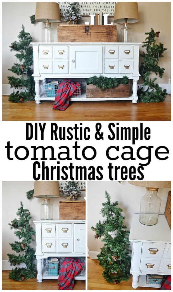 DIY tomato cage Christmas trees - SO simple, easy, and affordable to make! A must pin for the holiday season!
