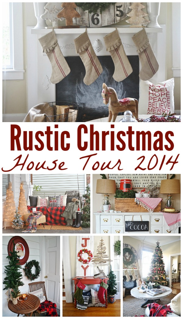 Rustic Christmas house tour - pops of red in the christmas decor with lovely vintage & antique touches. A must pin for Christmas decorating!