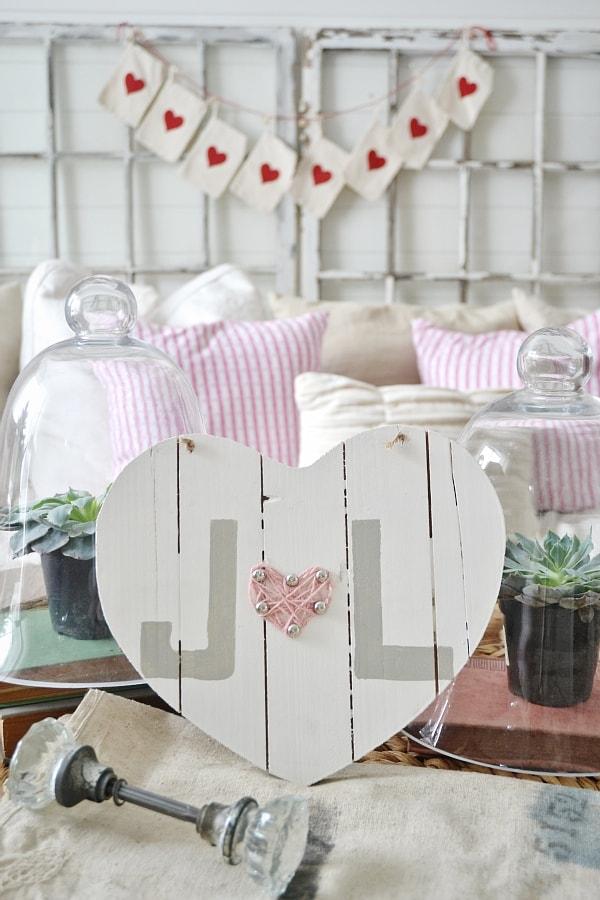 Valentines day art, DIY Wooden Heart Valentines Day Art