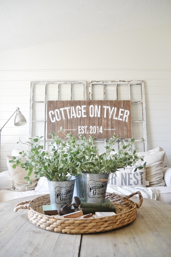Neutral cozy cottage living room decor - Thrifty decorating. & I think everyone should name their house!