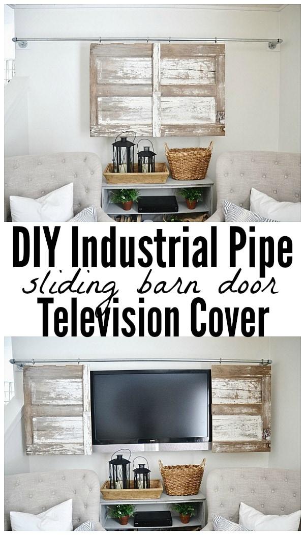 Industrial Pipe Sliding Barn Door Tv Cover Liz Marie Blog