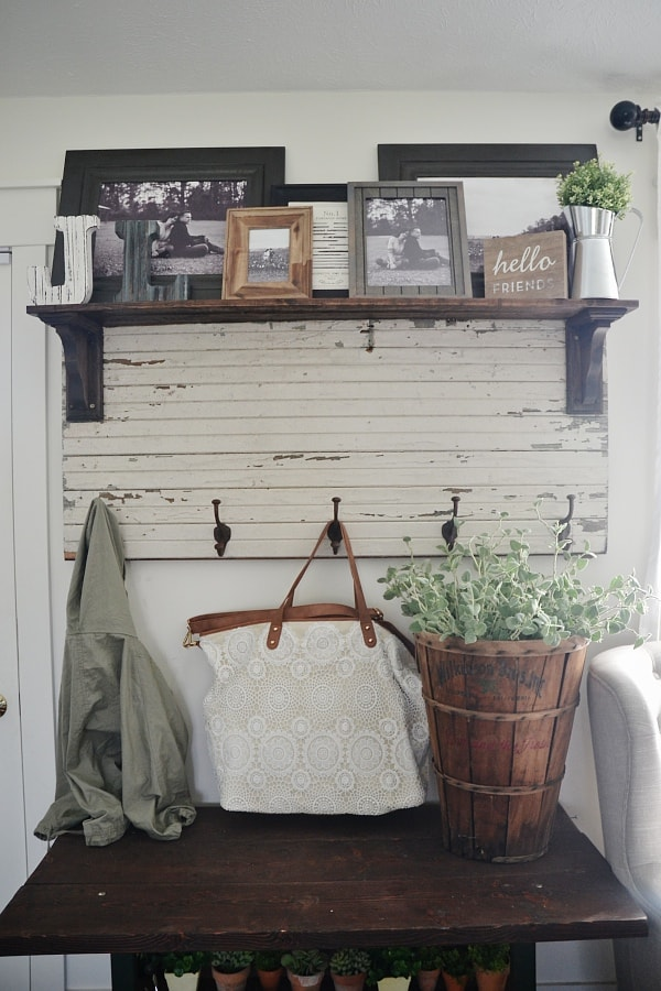 "New entryway table - potting bench style. A great way to spice up a small entryway when there is not really an entryway available. See how to create a ""faux entryway""."